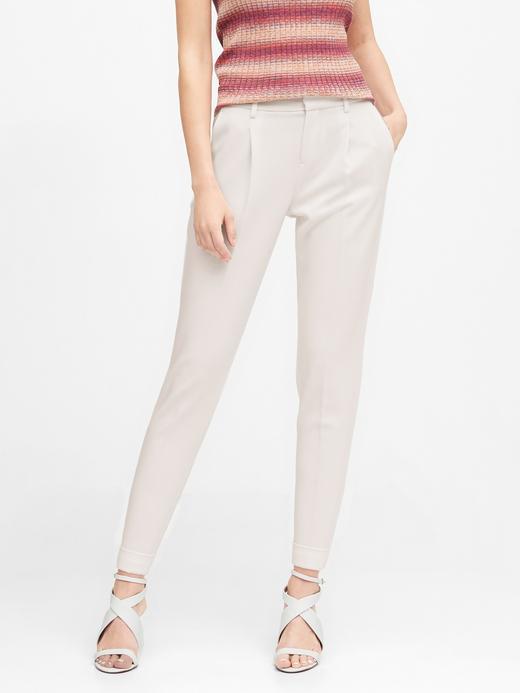 Kadın Beyaz High-Rise Tapered Cropped Pantolon