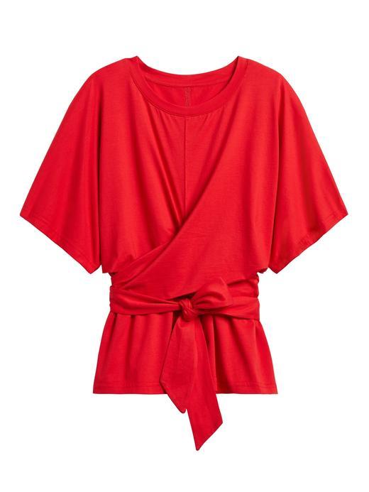 Kadın Kırmızı SUPIMA® Bağlama Detaylı T-Shirt