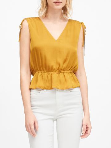 Kadın Sarı Saten Cropped Peplum Bluz