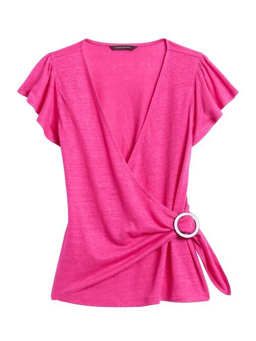 Kadın Pembe Kısa Kollu Keten T-Shirt