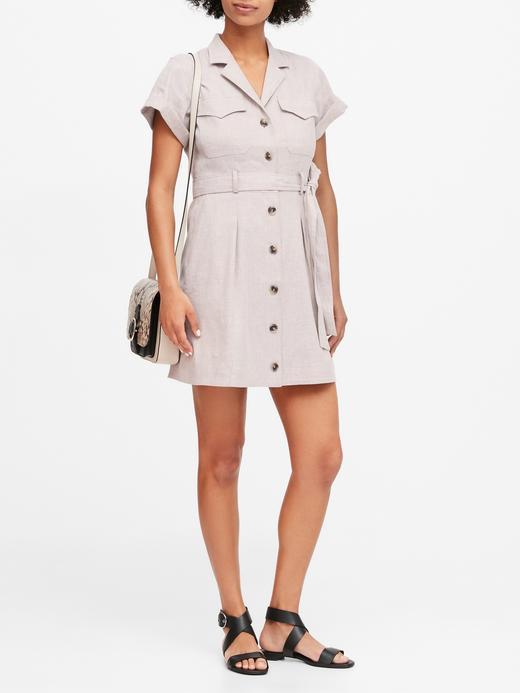 Kadın Bej Keten-Pamuk Karışımlı Utility Elbise