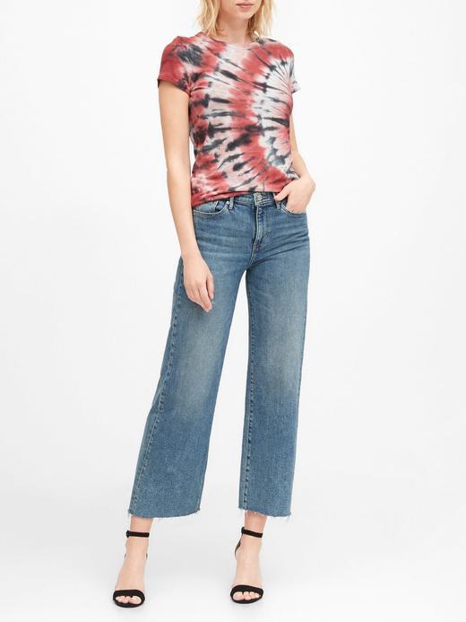 Kadın Lacivert Batik Desenli T-Shirt