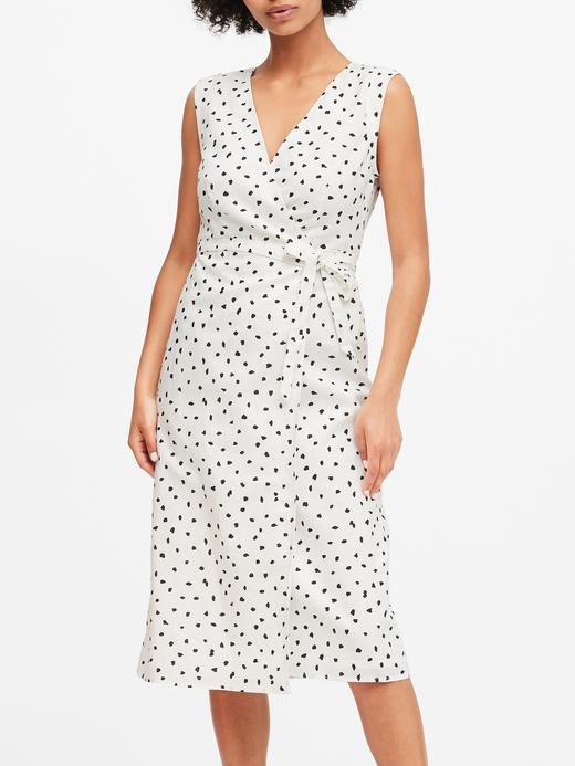 Kadın Beyaz Keten Pamuk Karışımlı Midi Elbise