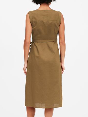 Kadın Yeşil Keten Pamuk Karışımlı Midi Elbise