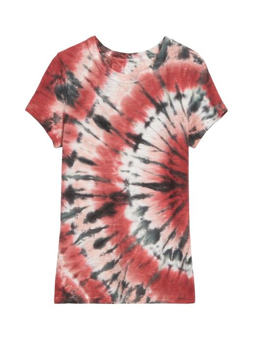 Kadın Kırmızı Batik Desenli T-Shirt