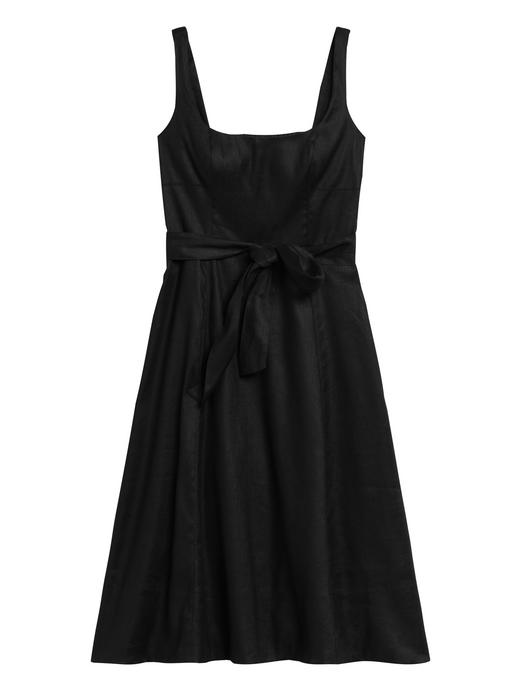 Kadın Siyah Keten Pamuk Karışımlı Kare Yaka Elbise