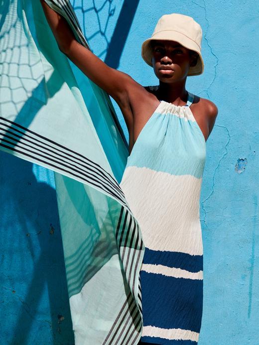 Kadın Mavi Askılı Shift Elbise