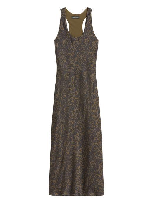 Kadın Yeşil Leopar Desenli Saten Elbise