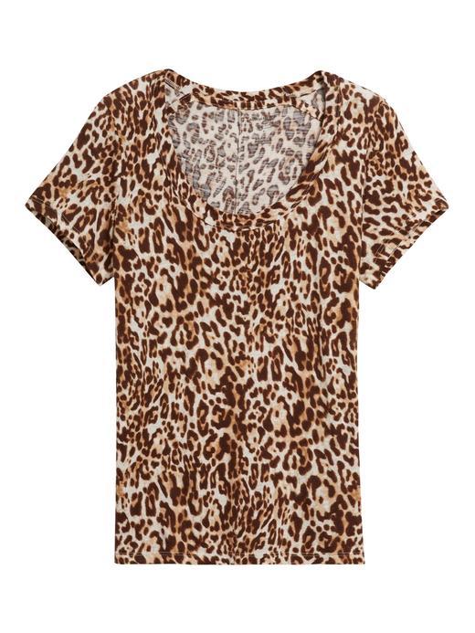 Kadın Kahverengi Yuvarlak Yaka Kısa Kollu T-Shirt