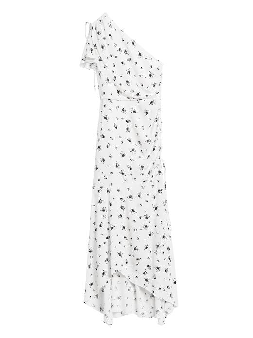 Kadın Beyaz Çiçek Desenli Tek Omuzlu Elbise