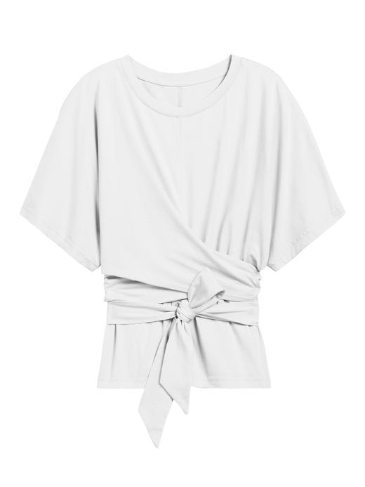 Kadın Beyaz SUPIMA® Bağlama Detaylı T-Shirt