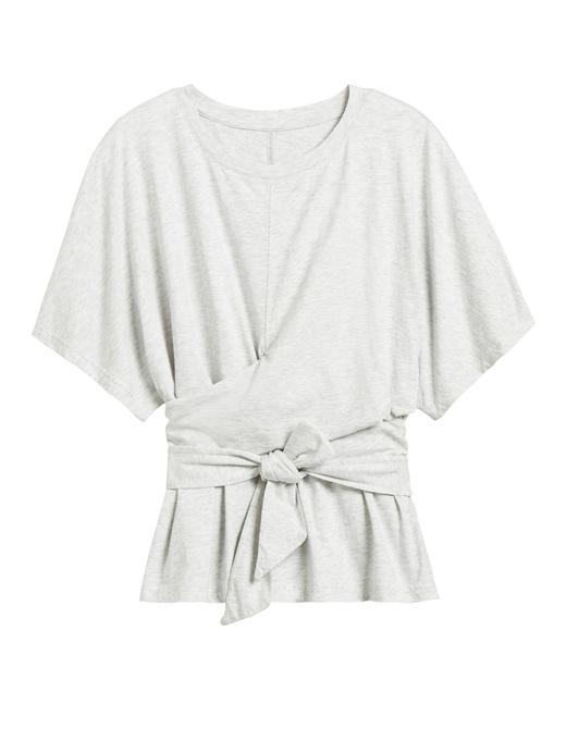 Kadın Gri SUPIMA® Bağlama Detaylı T-Shirt