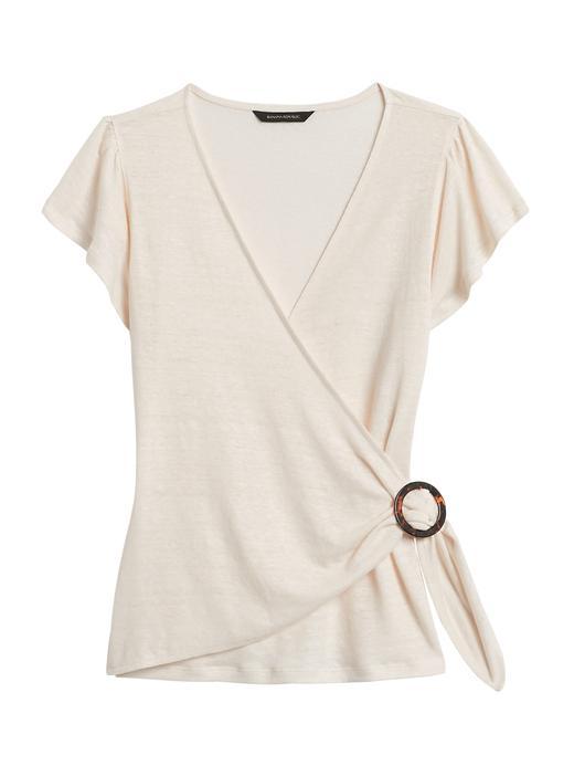 Kadın Bej Kısa Kollu Keten T-Shirt