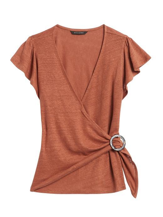 Kadın Kahverengi Kısa Kollu Keten T-Shirt