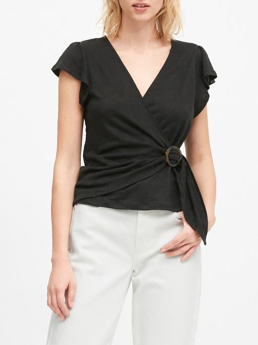 Kadın Siyah Kısa Kollu Keten T-Shirt
