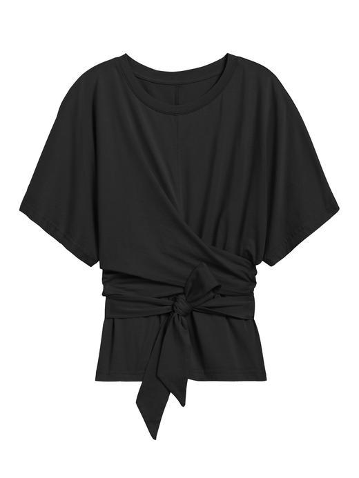 Kadın Siyah SUPIMA® Bağlama Detaylı T-Shirt