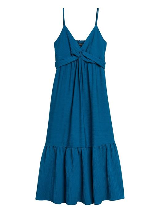 Kadın Mavi Bağlama Detaylı Midi Elbise