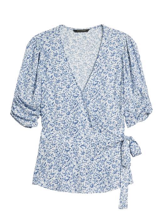 Kadın Lacivert EcoVero™ Kruvaze Bluz