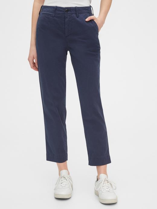 Kadın lacivert High Rise Straight Khaki Pantolon