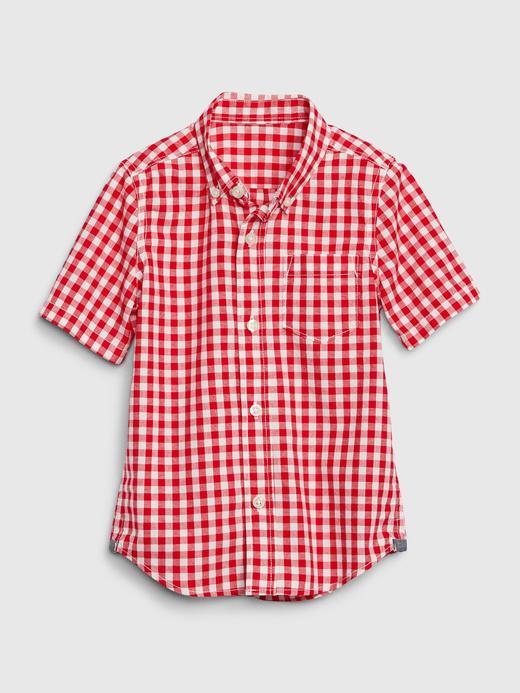 Erkek Bebek Kırmızı Ekose Poplin Gömlek