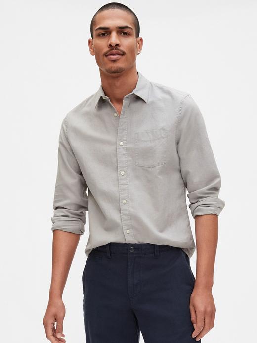 Erkek Gri Uzun Kollu Keten Gömlek