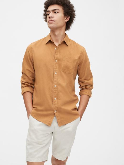 Erkek Kahverengi Uzun Kollu Keten Gömlek