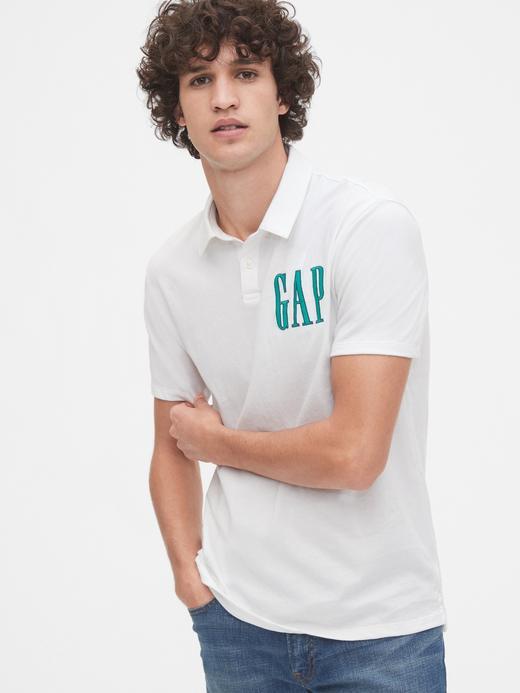 Erkek Beyaz Gap Logo Polo Yaka T-Shirt