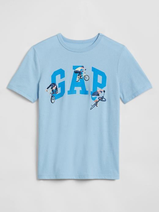 Erkek Çocuk Mavi Grafik Desenli Kısa Kollu T-Shirt