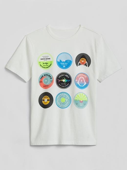 Erkek Çocuk Beyaz Grafik Desenli Kısa Kollu T-Shirt