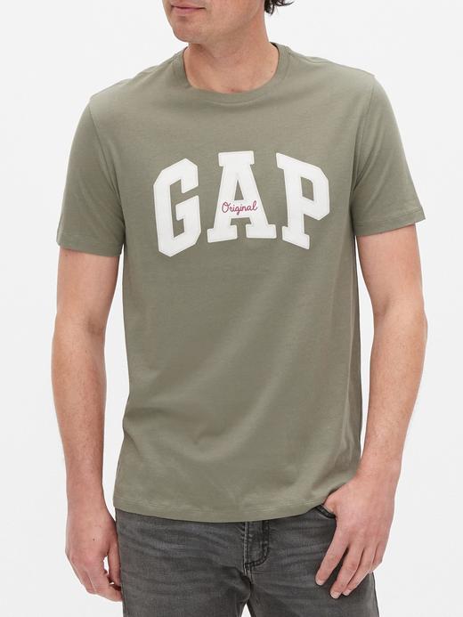 Erkek Yeşil Gap Logo Yuvarlak Yaka T-Shirt