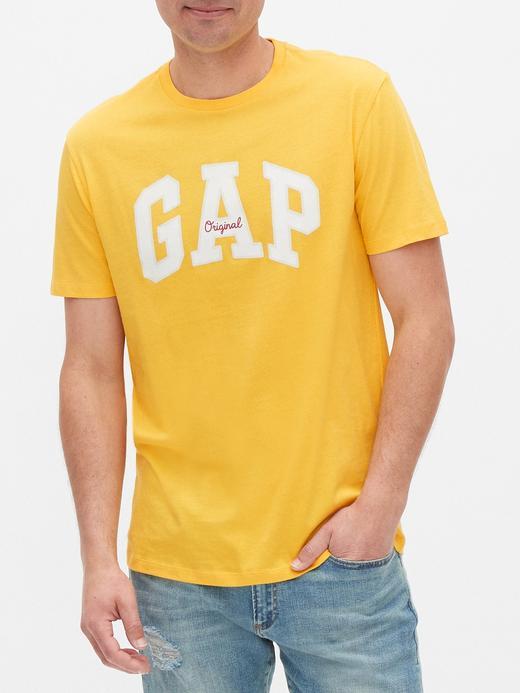 Erkek Sarı Gap Logo Yuvarlak Yaka T-Shirt