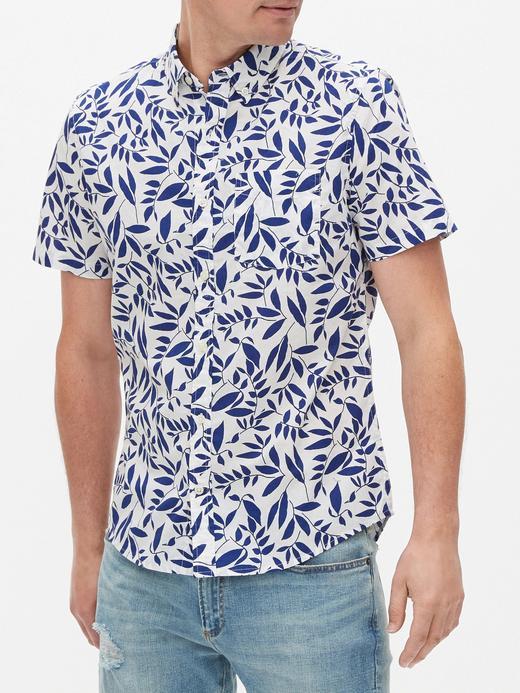 Erkek Mavi Slim Fit Kısa Kollu Gömlek