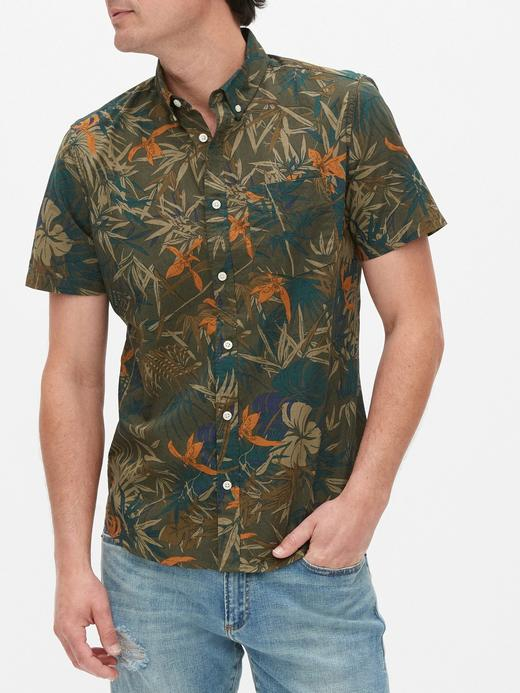 Erkek Yeşil Slim Fit Kısa Kollu Gömlek
