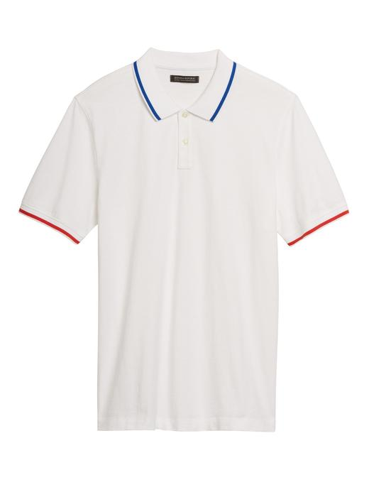 Erkek Beyaz Luxury-Touch Performance Polo Yaka T-Shirt