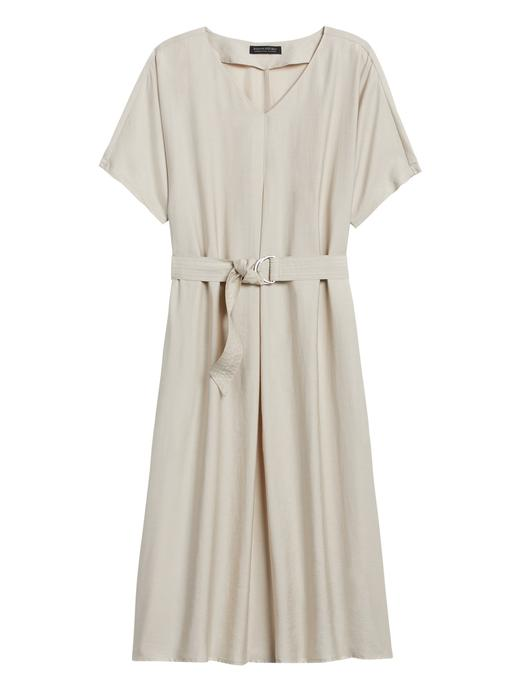 Kadın Gri Kısa Kollu Kemerli Elbise