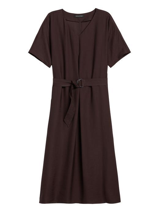 Kadın Kahverengi Kısa Kollu Kemerli Elbise