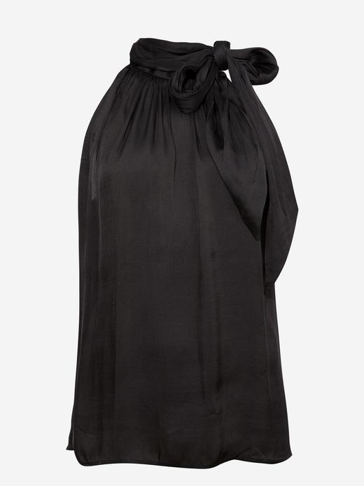Kadın Siyah Saten Kolsuz Bluz