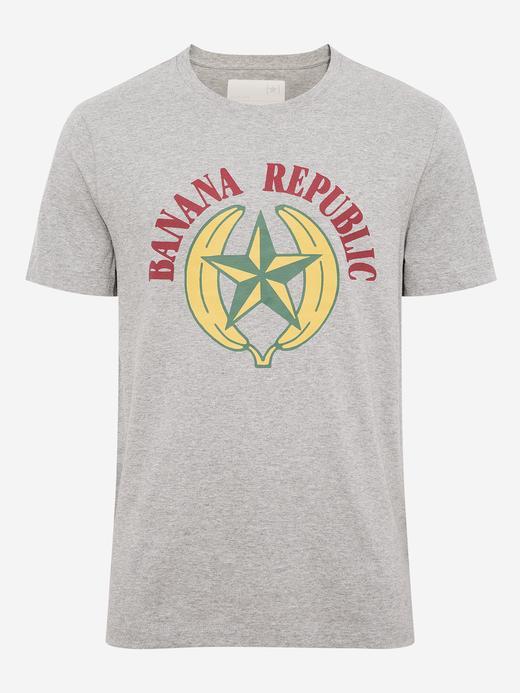 Erkek Gri Grafik Desenli Kısa Kollu T-Shirt