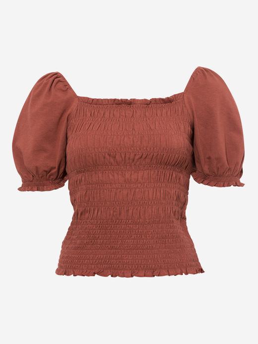 Kadın Kahverengi Balon Kollu Büzgülü Bluz