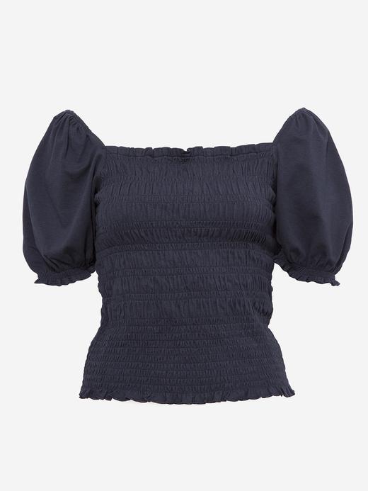 Kadın Lacivert Balon Kollu Büzgülü Bluz