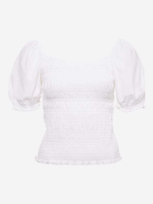 Kadın Beyaz Balon Kollu Büzgülü Bluz