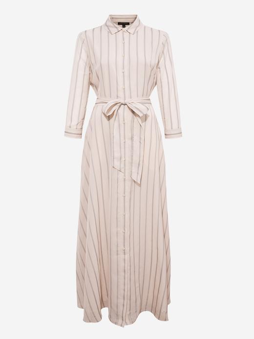 Kadın Bej Çizgili Maxi Elbise