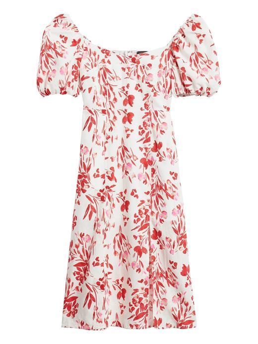 Kadın Beyaz Çiçek Desenli Balon Kollu Elbise