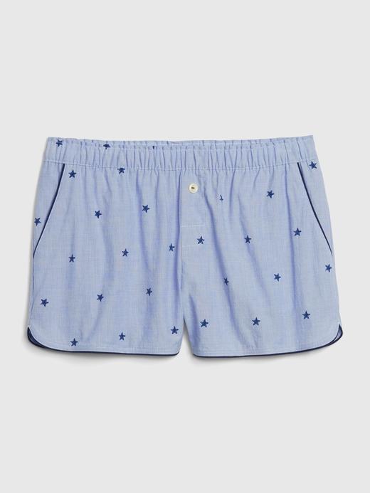 Kadın Mavi Desenli Poplin Pijama Altı