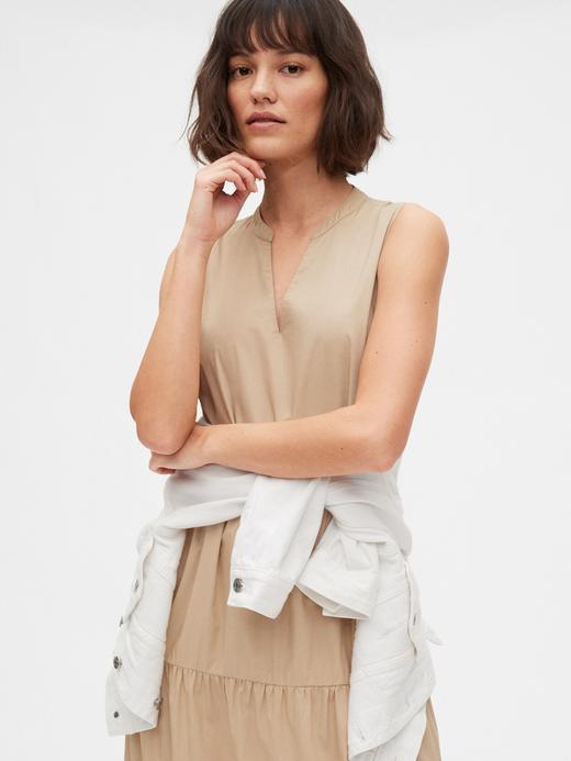 Kadın Bej Kolsuz Maxi Elbise