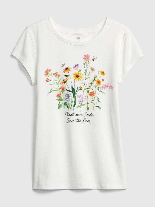 Kız Çocuk Bej Grafik Desenli Kısa Kollu T-Shirt
