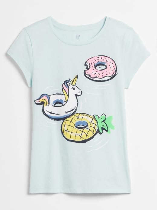 Kız Çocuk Mavi Grafik Desenli Kısa Kollu T-Shirt