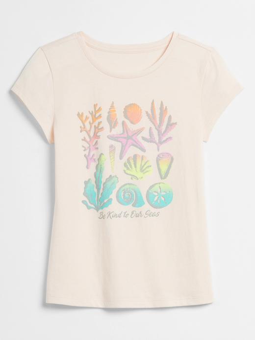 Kız Çocuk Pembe Grafik Desenli Kısa Kollu T-Shirt
