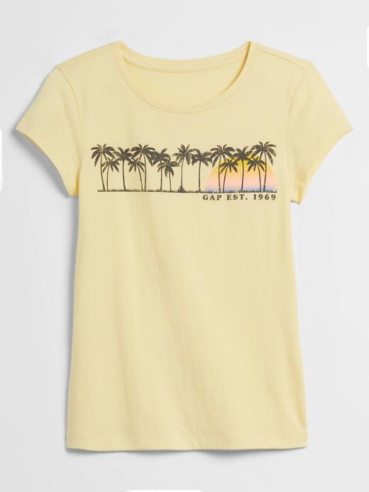 Kız Çocuk Sarı Grafik Desenli Kısa Kollu T-Shirt