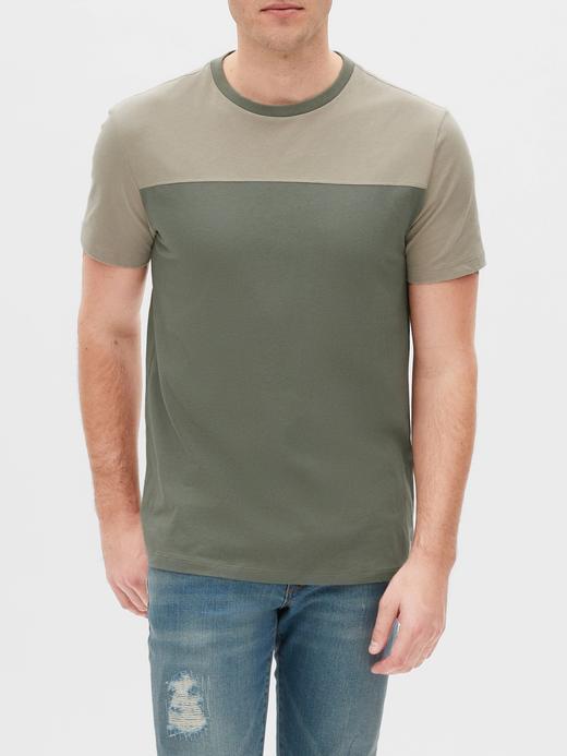 Erkek Yeşil Renk Bloklu Kısa Kollu T-Shirt